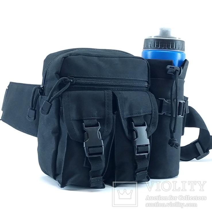 Универсальная тактическая сумка на пояс с карманом под бутылку