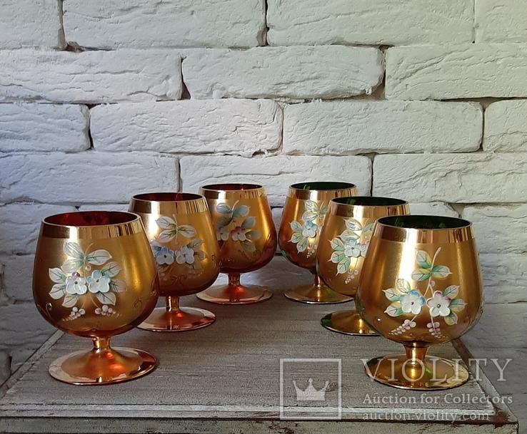 Фужеры цветное стекло, Bohemiа,70-е. 6 штук, фото №2