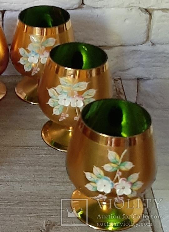 Фужеры цветное стекло, Bohemiа,70-е. 6 штук, фото №4