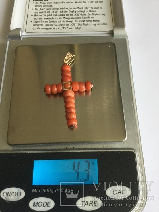 Крест золото и коралл, фото №4