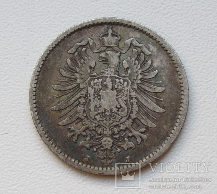 1 марка 1876 г. (J), Германия, серебро, фото №7