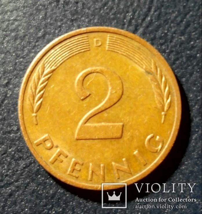 Германия (ФРГ) 2 пфеннига 1979 (D), фото №2