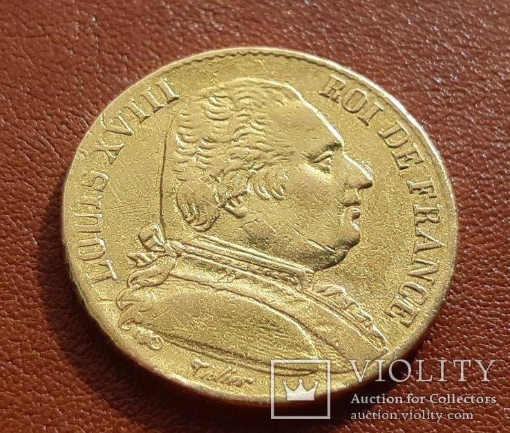Золото 20 франков 1815 г. Людовик XVIII Франция
