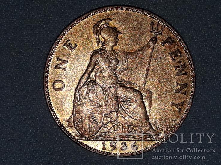Великобритания 1 пенни 1936 года, фото №2