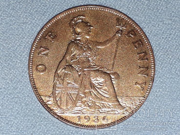 Великобритания 1 пенни 1936 года, фото №3