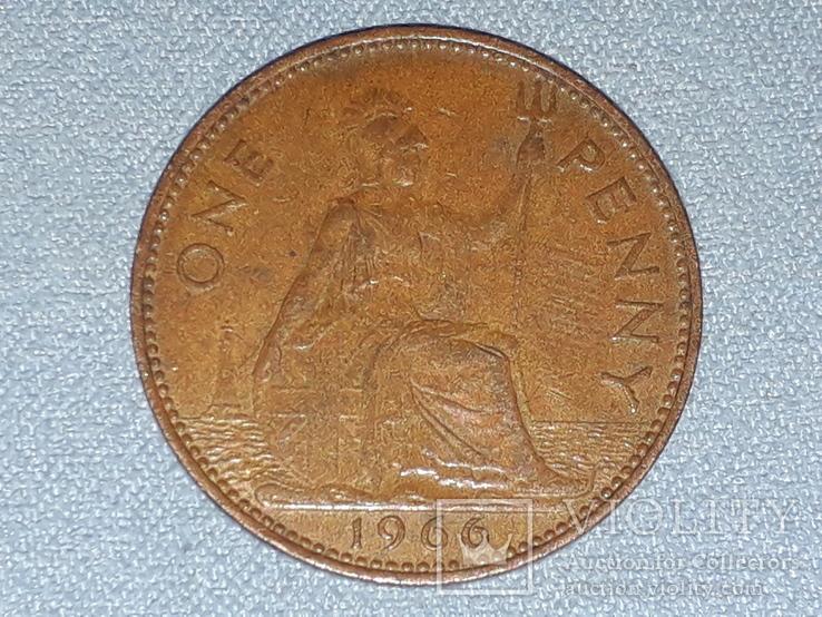 Великобритания 1 пенни 1966 года, фото №3