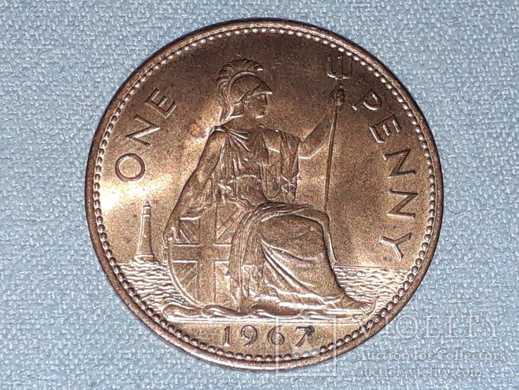 Великобритания 1 пенни 1967 года, фото №2