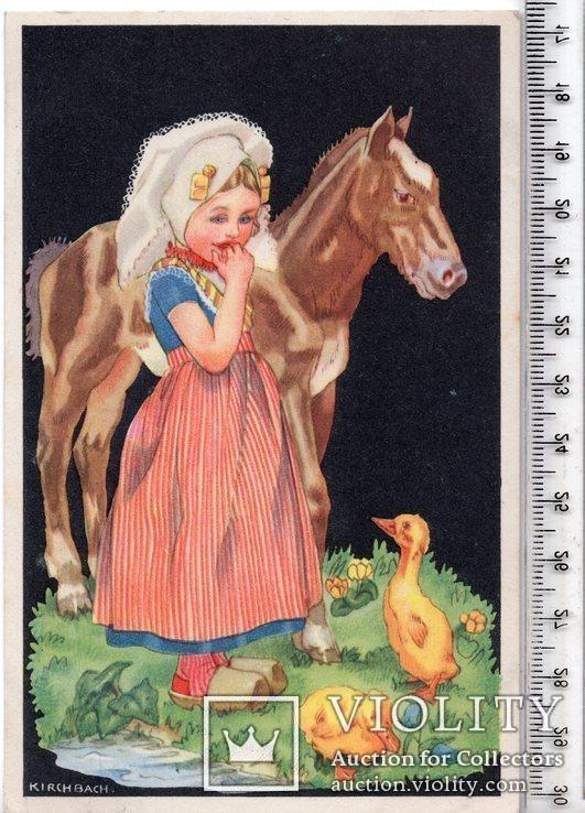 Старинная открытка. 1943 год. Дети.(3), фото №2