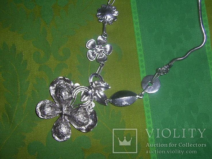 Колье из хрустального стекла и металла в виде бабочки, фото №8