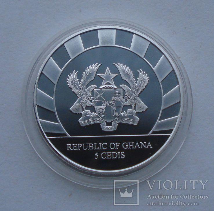 2019 г - 5 седи Гана,Гигантский Олень,унция серебра в капсуле, фото №5