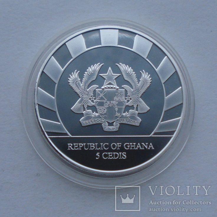 2019 г - 5 седи Гана,Гигантский Олень,унция серебра в капсуле, фото №7