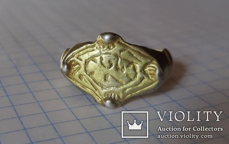 Перстень рогач, серебро в позолоте