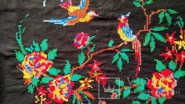 Старинная вышитая картина Райские птицы, фото №2