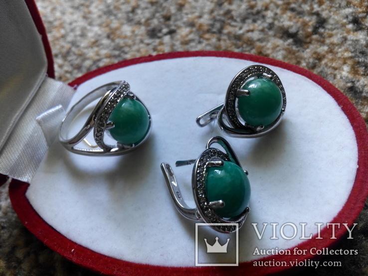 Серебро гарнитур кольцо серьги с зеленой бирюзой, фото №4