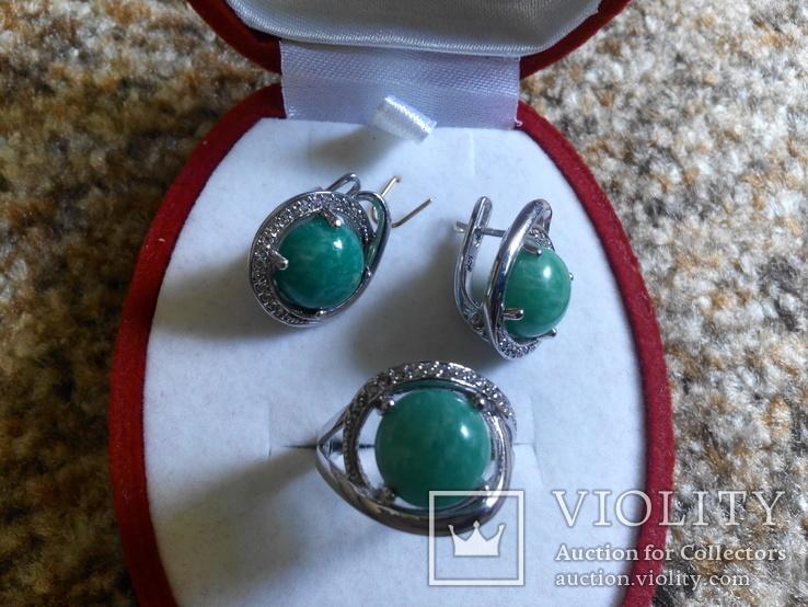 Серебро гарнитур кольцо серьги с зеленой бирюзой, фото №6