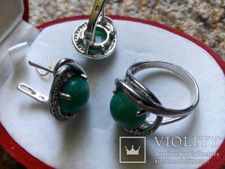 Серебро гарнитур кольцо серьги с зеленой бирюзой, фото №8