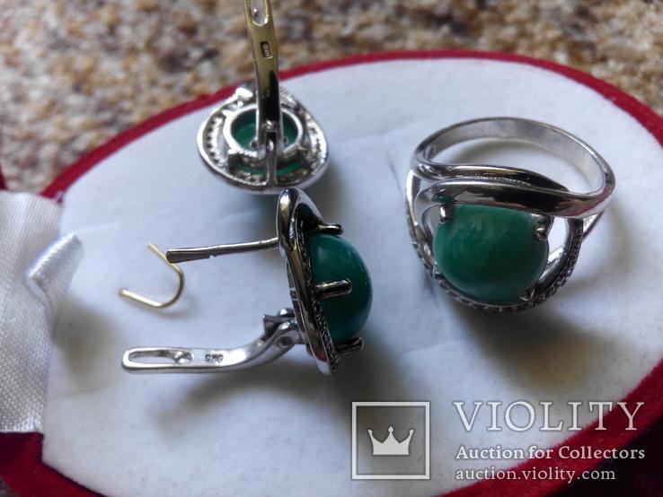 Серебро гарнитур кольцо серьги с зеленой бирюзой, фото №9
