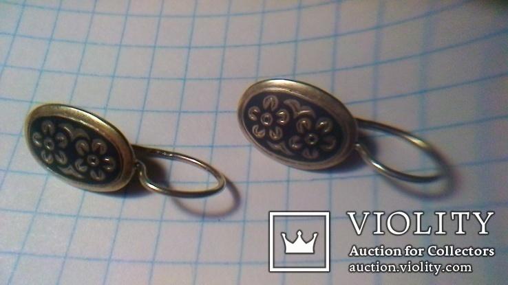 Сережки срібні СССР 3.47г, фото №9