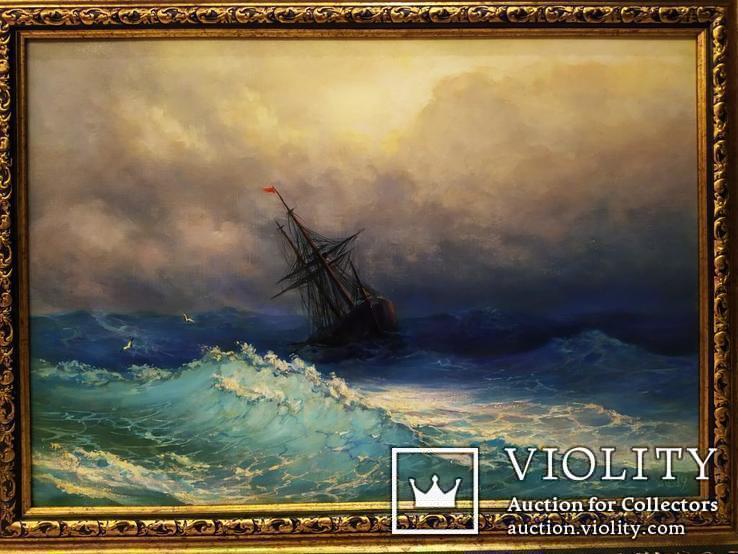 Картина В бушующем море холст масло подпись рама 66 на 51,5 см копия, фото №2