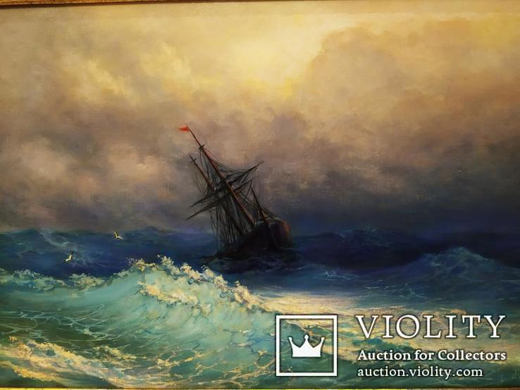 Картина В бушующем море холст масло подпись рама 66 на 51,5 см копия, фото №3