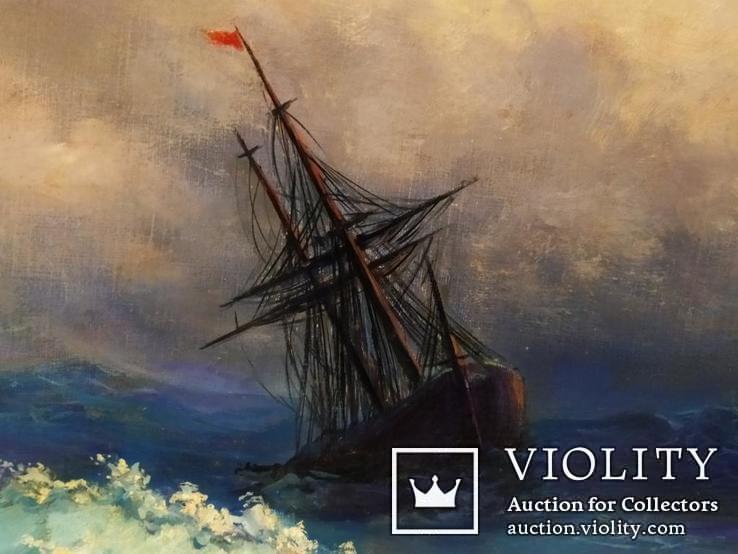 Картина В бушующем море холст масло подпись рама 66 на 51,5 см копия, фото №4