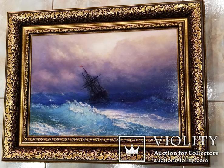 Картина В бушующем море холст масло подпись рама 66 на 51,5 см копия, фото №6