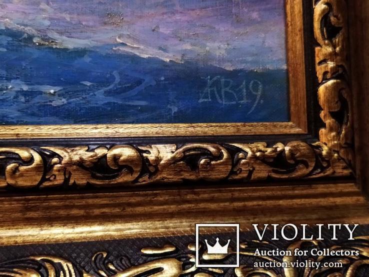 Картина В бушующем море холст масло подпись рама 66 на 51,5 см копия, фото №7