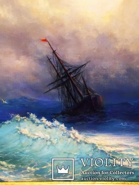 Картина В бушующем море холст масло подпись рама 66 на 51,5 см копия, фото №8