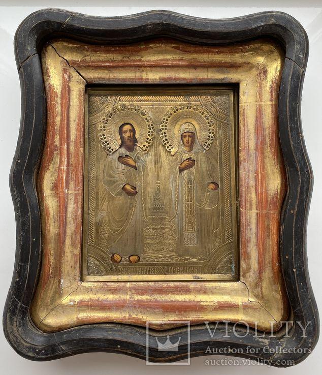 Икона Матвей и Евдокия в киоте
