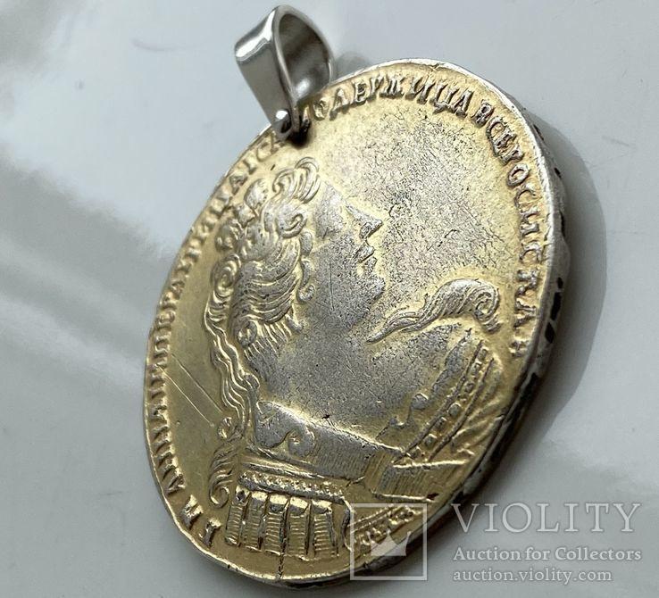 Дукач Рубль 1733 года Анна Иоановна. Серебро, сохранилась родная позолота, фото №4