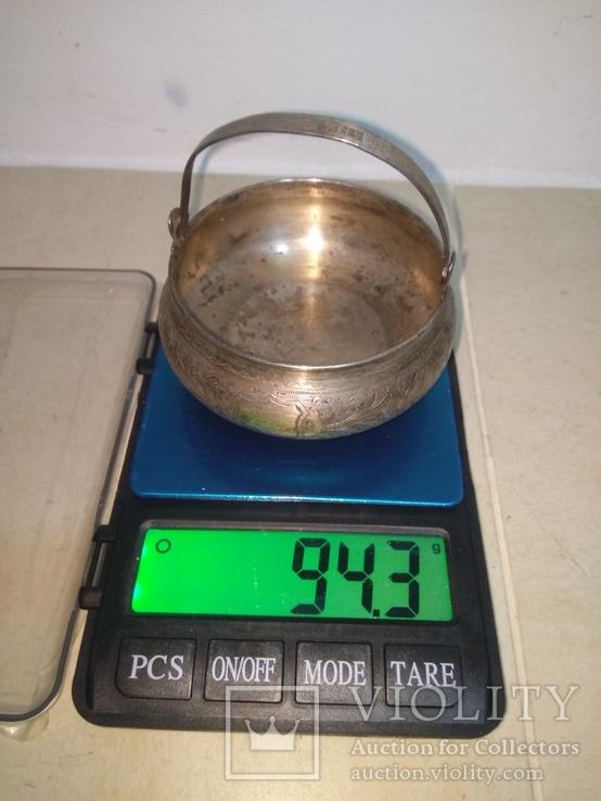 Сахарница серебро 84, фото №7