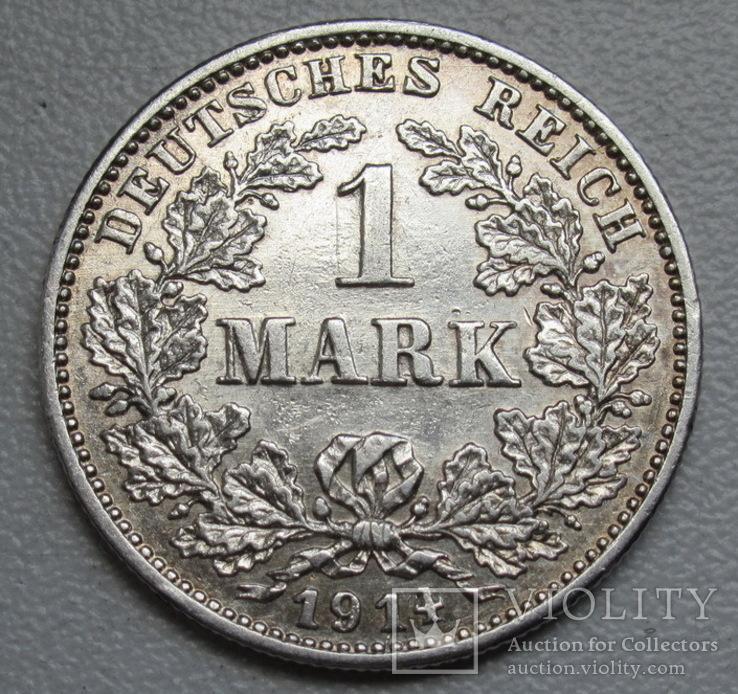 1 марка 1914 г. (G), Германия, серебро, фото №4