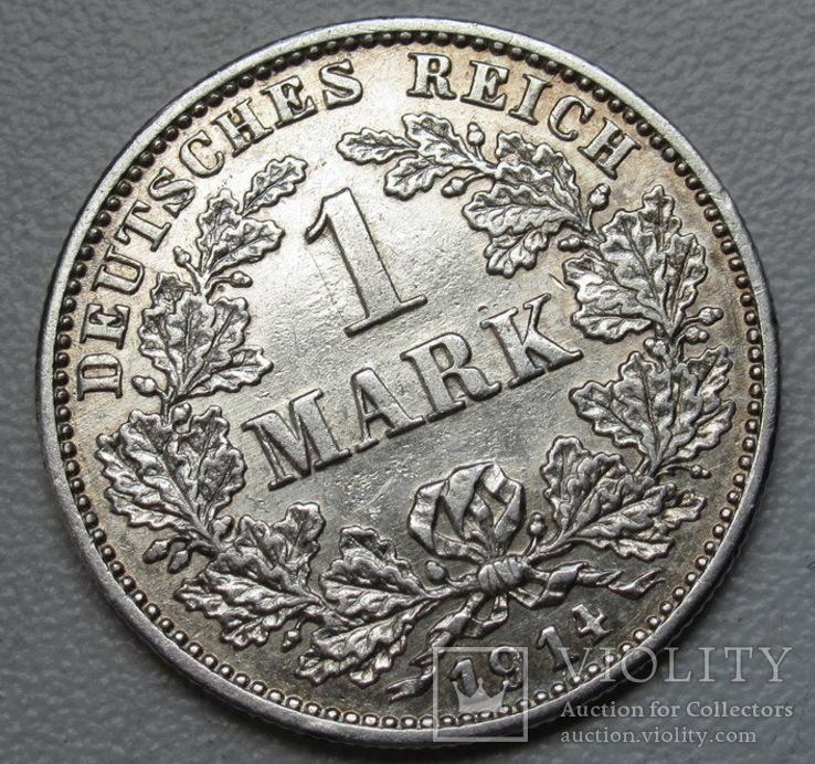 1 марка 1914 г. (G), Германия, серебро, фото №5