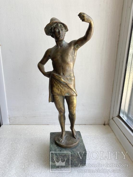 Скульптура Рыбак бронзовая старая Европа подписная, фото №2