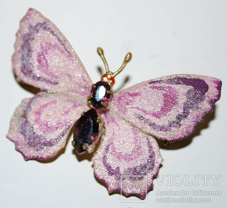 Брошь времен СССР, бабочка, вставка аметист, золочение - 3х5 см., фото №5
