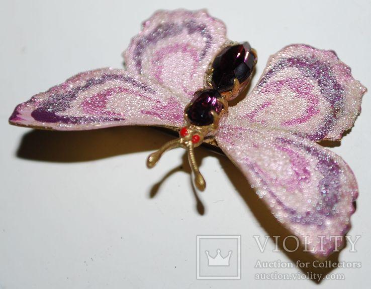 Брошь времен СССР, бабочка, вставка аметист, золочение - 3х5 см., фото №6