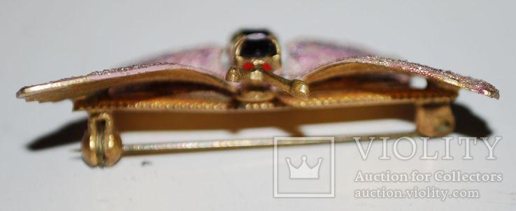 Брошь времен СССР, бабочка, вставка аметист, золочение - 3х5 см., фото №7