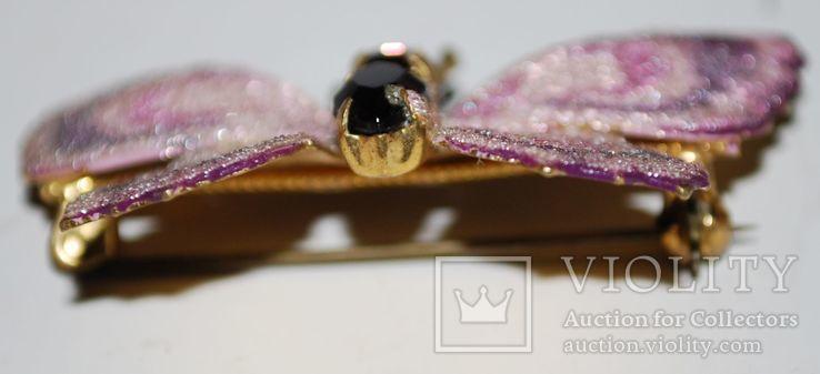 Брошь времен СССР, бабочка, вставка аметист, золочение - 3х5 см., фото №8