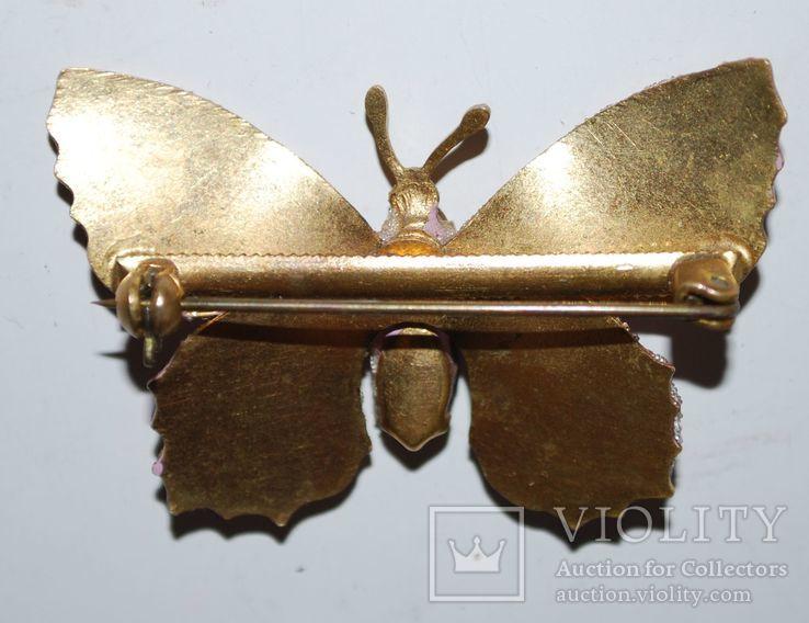 Брошь времен СССР, бабочка, вставка аметист, золочение - 3х5 см., фото №9