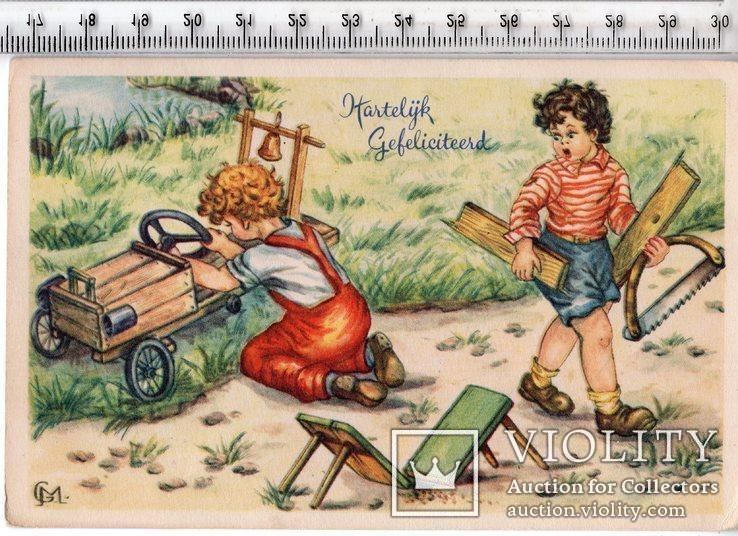 Старинная открытка. 1957 год. Дети. (3), фото №2