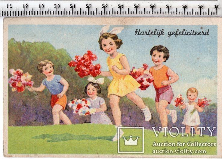 Старинная открытка. 1942 год. Дети. (3), фото №2