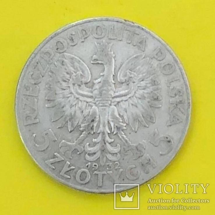 5 Злотих 1932р. Срібло., фото №3