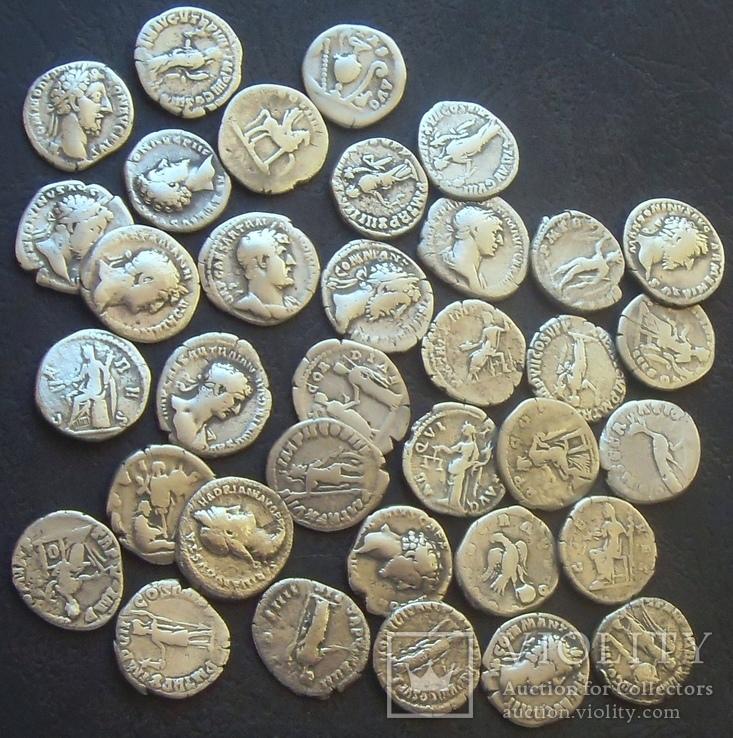 Монеты древнего Рима (денарии) 35 штук., фото №2