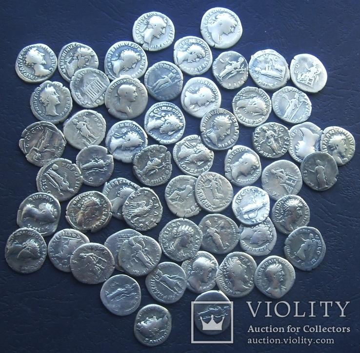 Монеты Древнего Рима (денарии) 55 штук., фото №3