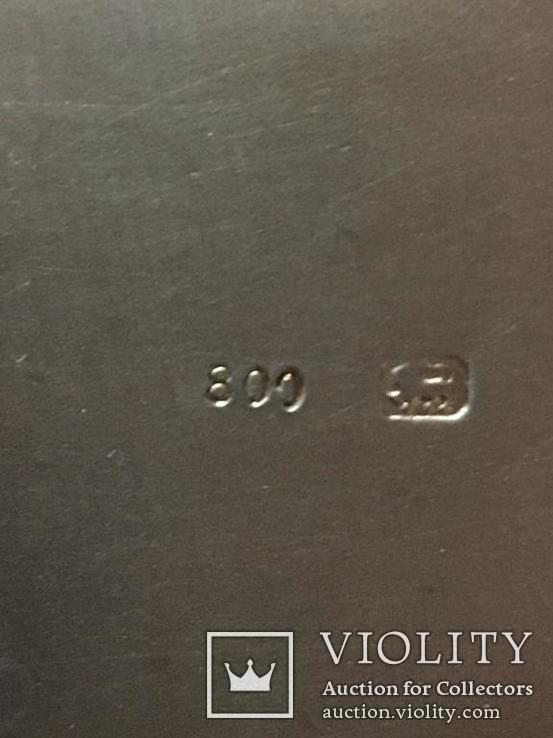 Серебряный портсигар. серебро 800 монограмма F Z. и ЛЕВ. вес-94,4 гр. позолота внутри., фото №6