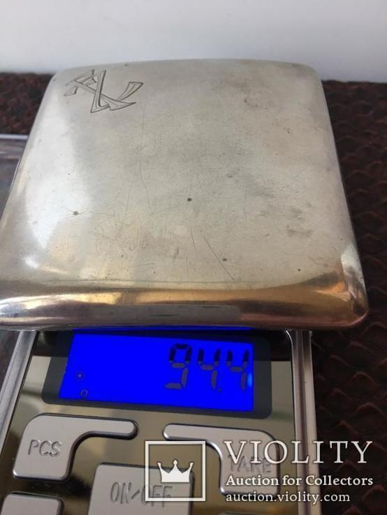 Серебряный портсигар. серебро 800 монограмма F Z. и ЛЕВ. вес-94,4 гр. позолота внутри., фото №7