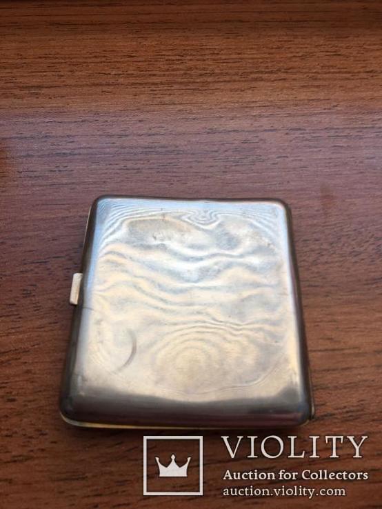 Серебряный портсигар. серебро 800 монограмма F Z. и ЛЕВ. вес-94,4 гр. позолота внутри., фото №8