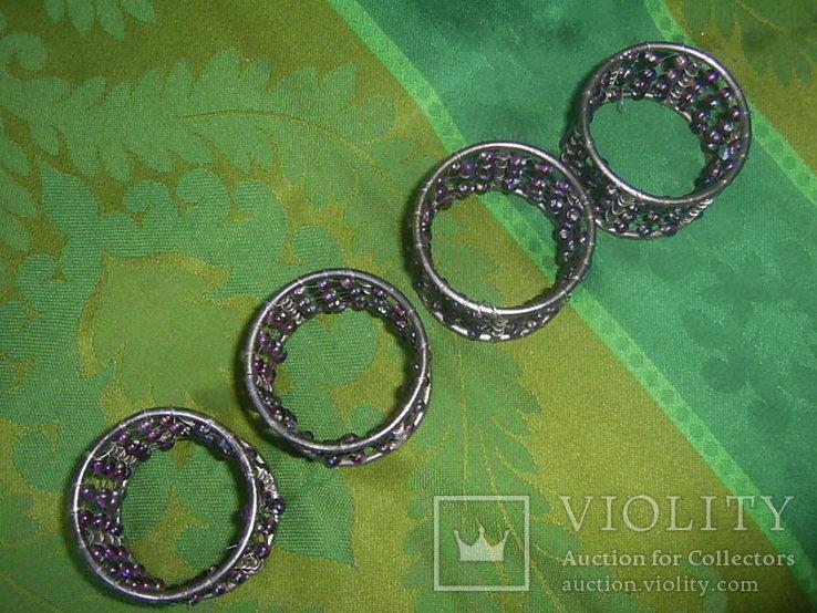 Кольца для салфеток 4 шт. декорированные бусинами Европа, фото №5