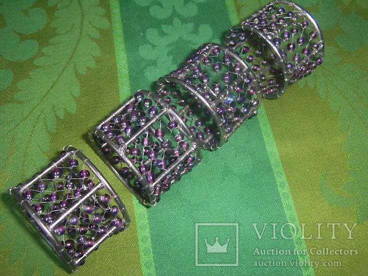 Кольца для салфеток 4 шт. декорированные бусинами Европа, фото №7
