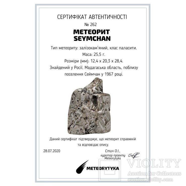 Залізо-кам'яний метеорит Seymchan, 25,5 грам, із сертифікатом автентичності, фото №3